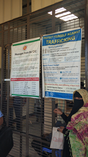 warning messages against trafficking at the kutupalong camp office
