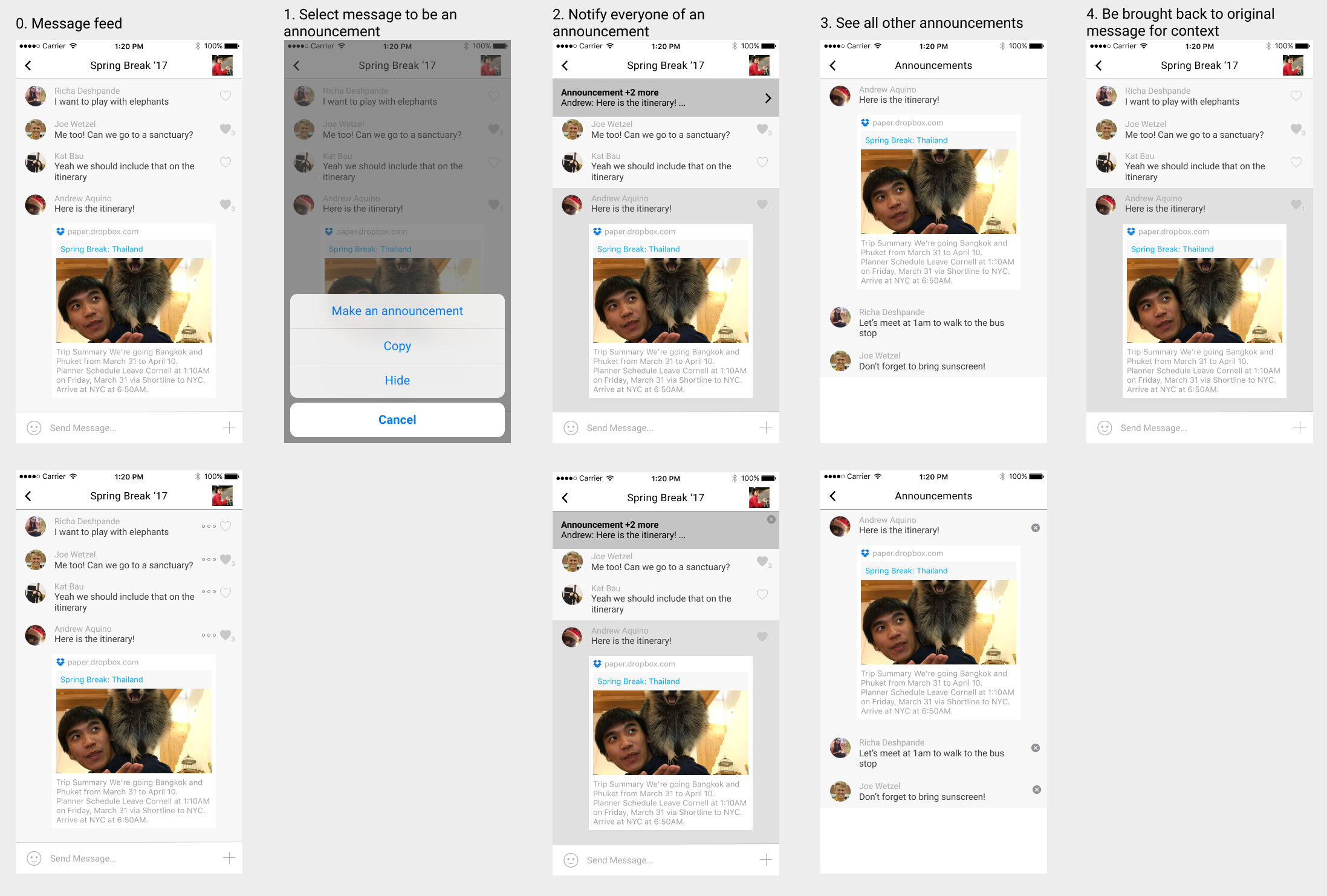 GroupMe Concept: Making Announcements and Saving Messages