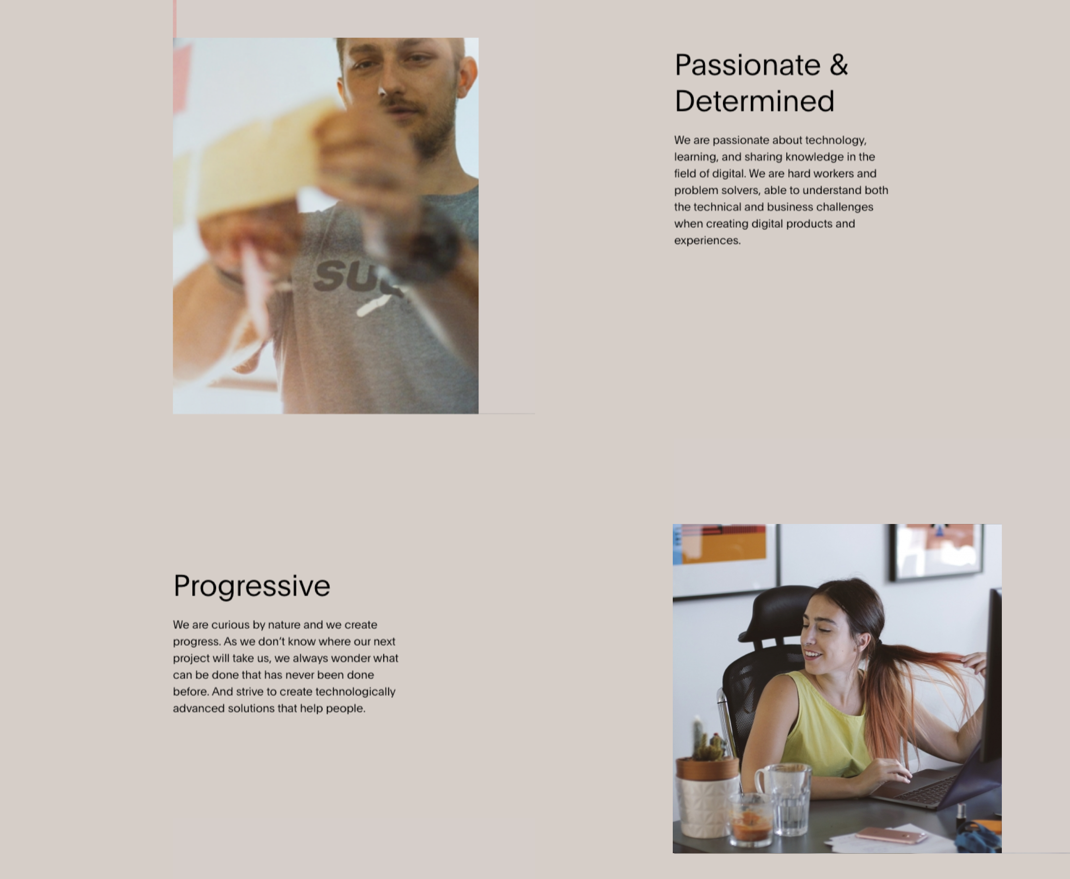 Screenshot with examples of principles by agency Bornfight