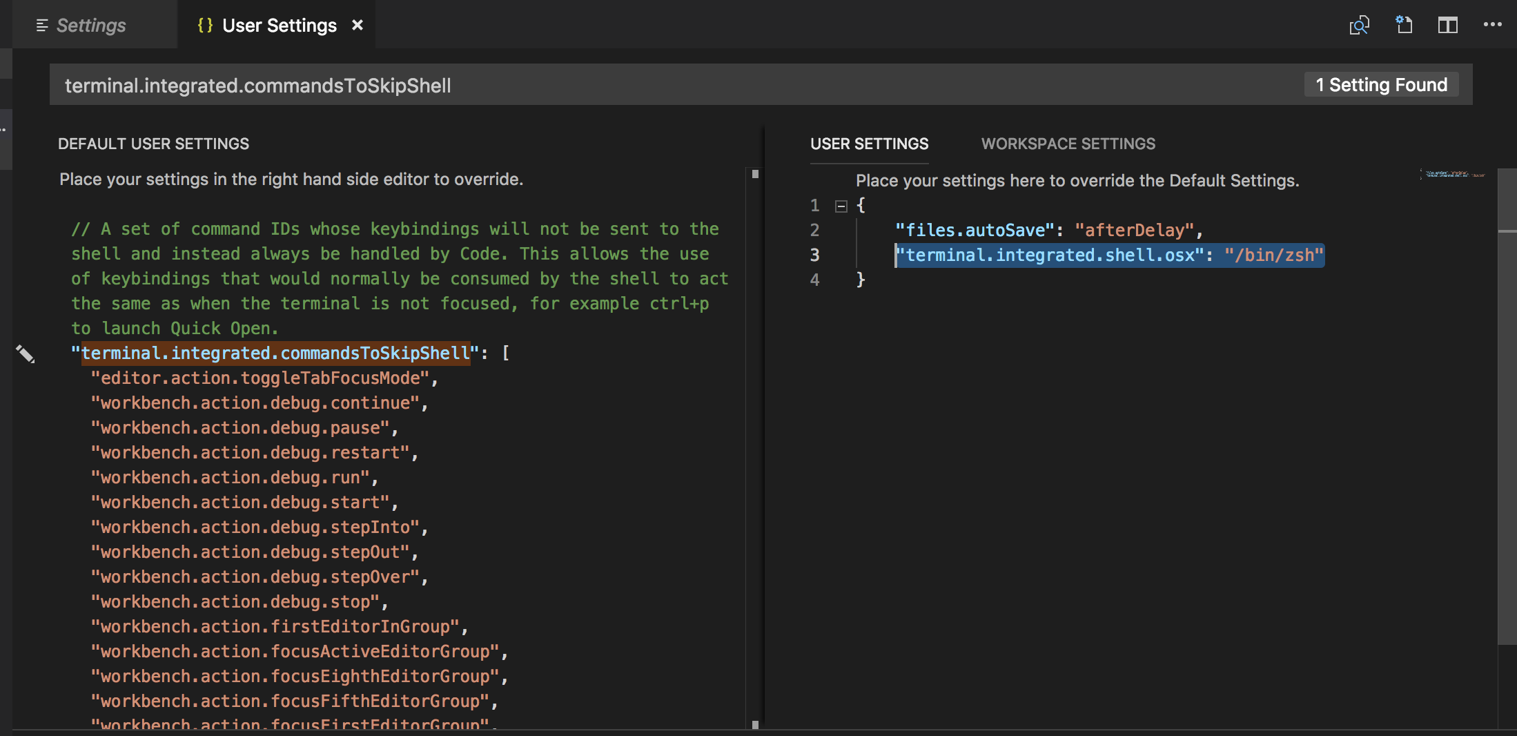 How to update visual studio code's default terminal shell