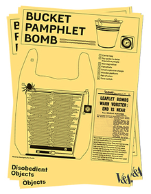 riottech: pamphlet showing a bucket filled with stacks of paper, as well as parts of the assembly