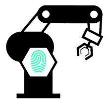 Manufacturing robot with fingerprint icon
