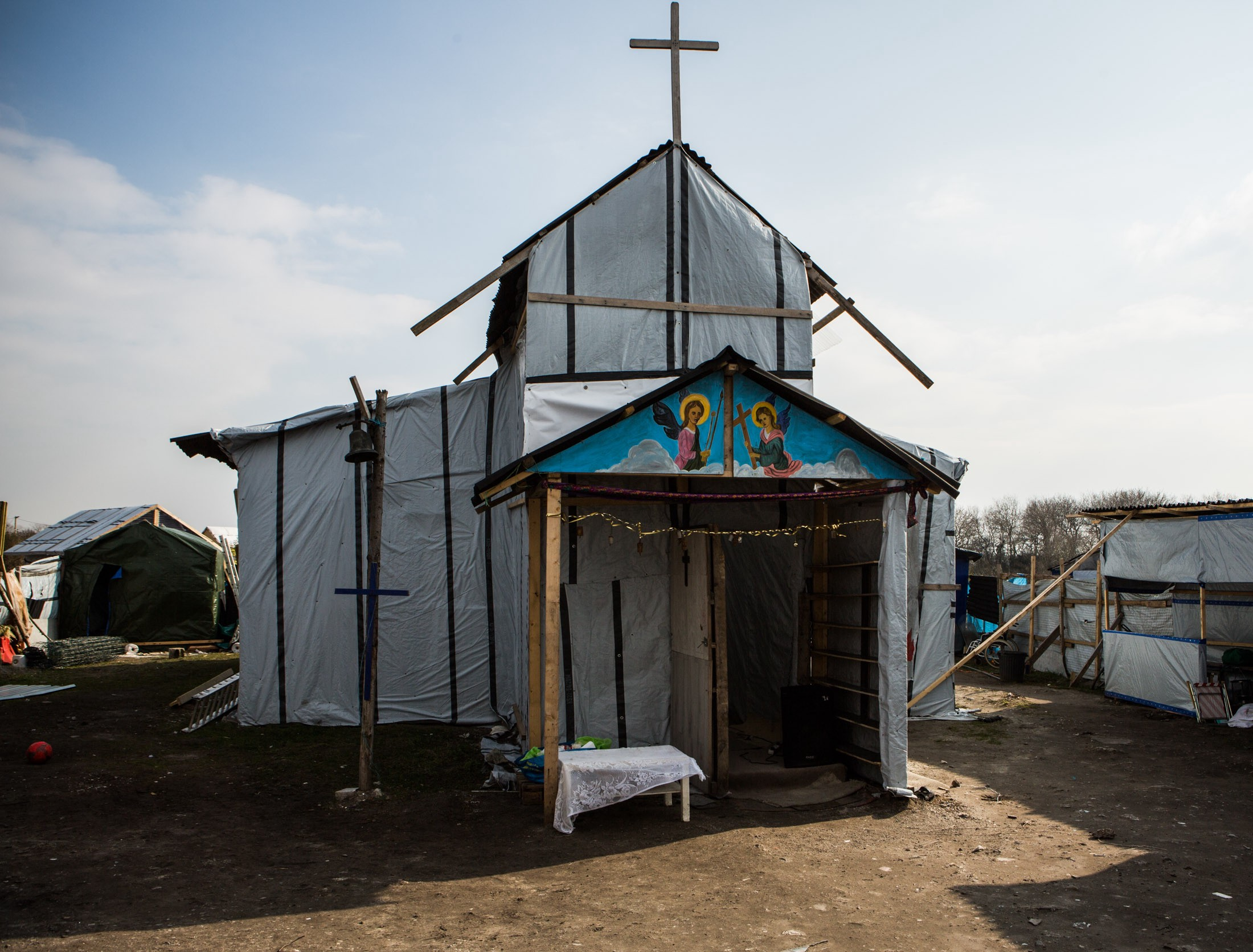The Eritrean Orthodox church, St. Michael's Calais, pictured here, serves as a safe place for asylum seekers to momentarily escape the tragedy of displacement.
