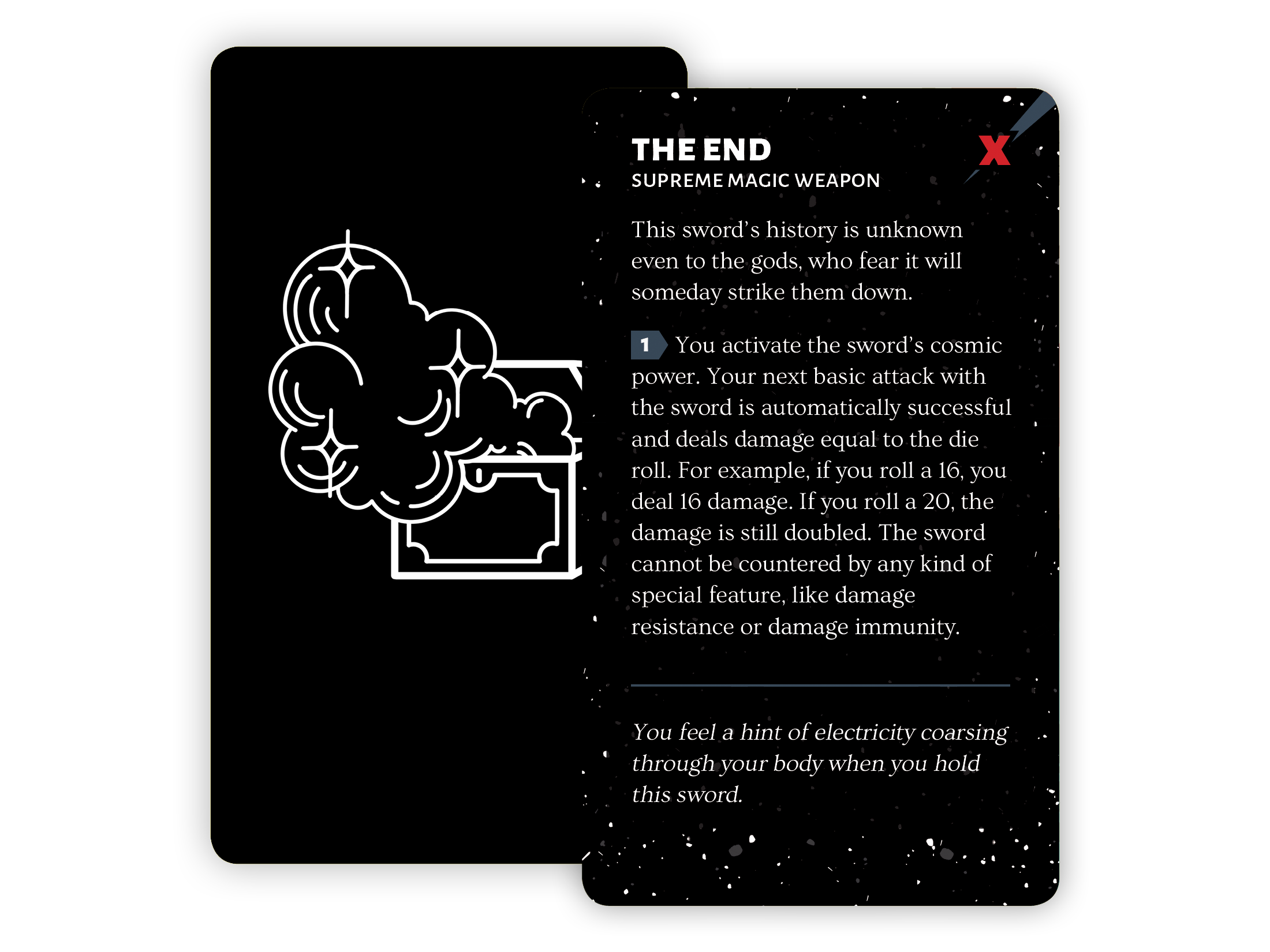 A card for The End: a supreme magic weapon that's capable of cutting down gods.