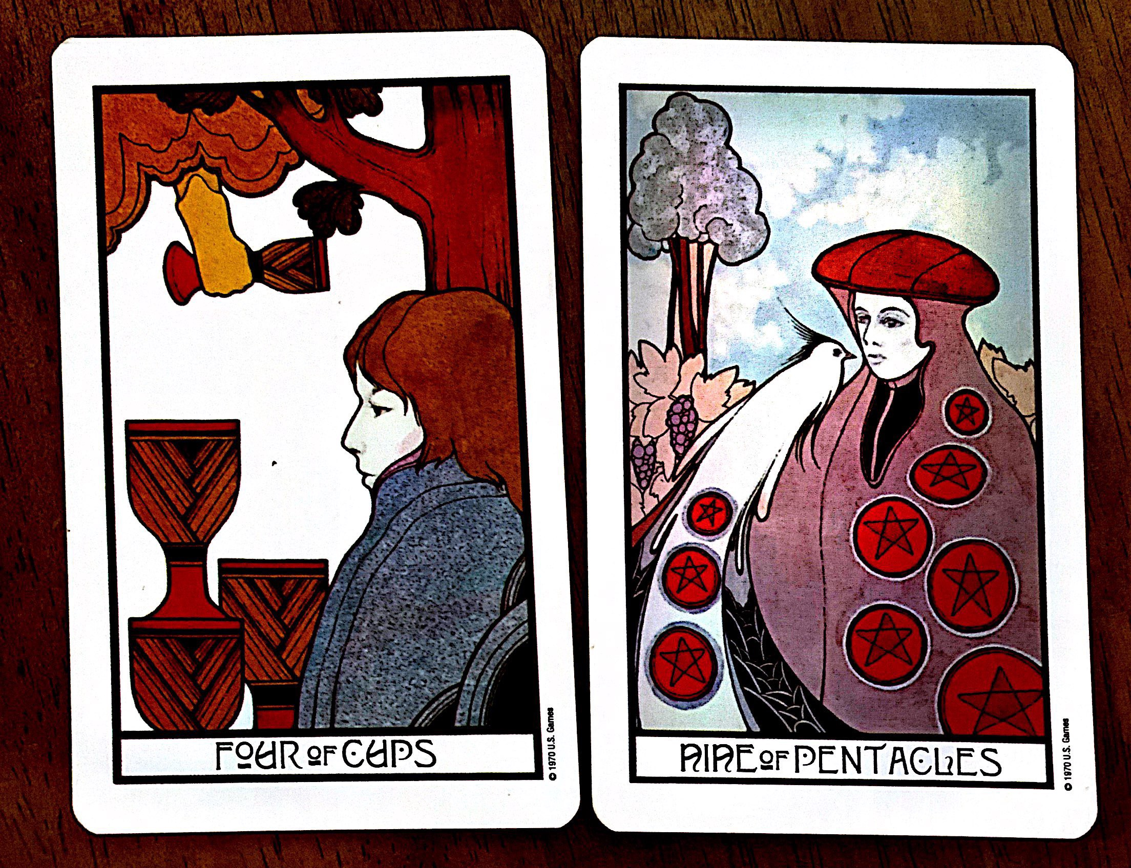 Tarot Meanings Combinations 5 Of Rods 9 Of Pentacles And 4 Of By Heather Cristia Medium Generosity, contentment, security, feasting, harmony, happiness, balance, concord, victory, success, personal satisfaction, advantage, positive energies, material gains. tarot meanings combinations 5 of