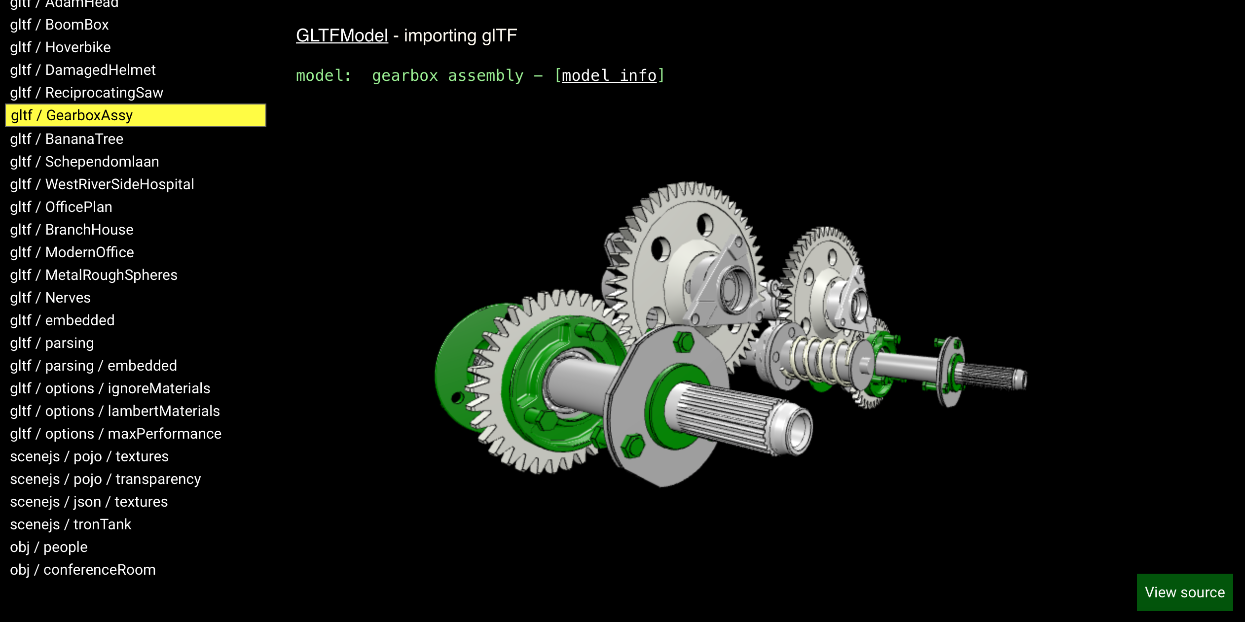 A gearbox GLTF model opened with xeogl.