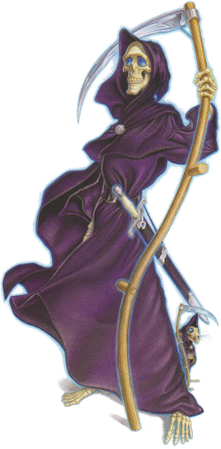 Terry Pratchett's Death, by Paul Kidby. A skeleton with a scythe wearing a purple robe.