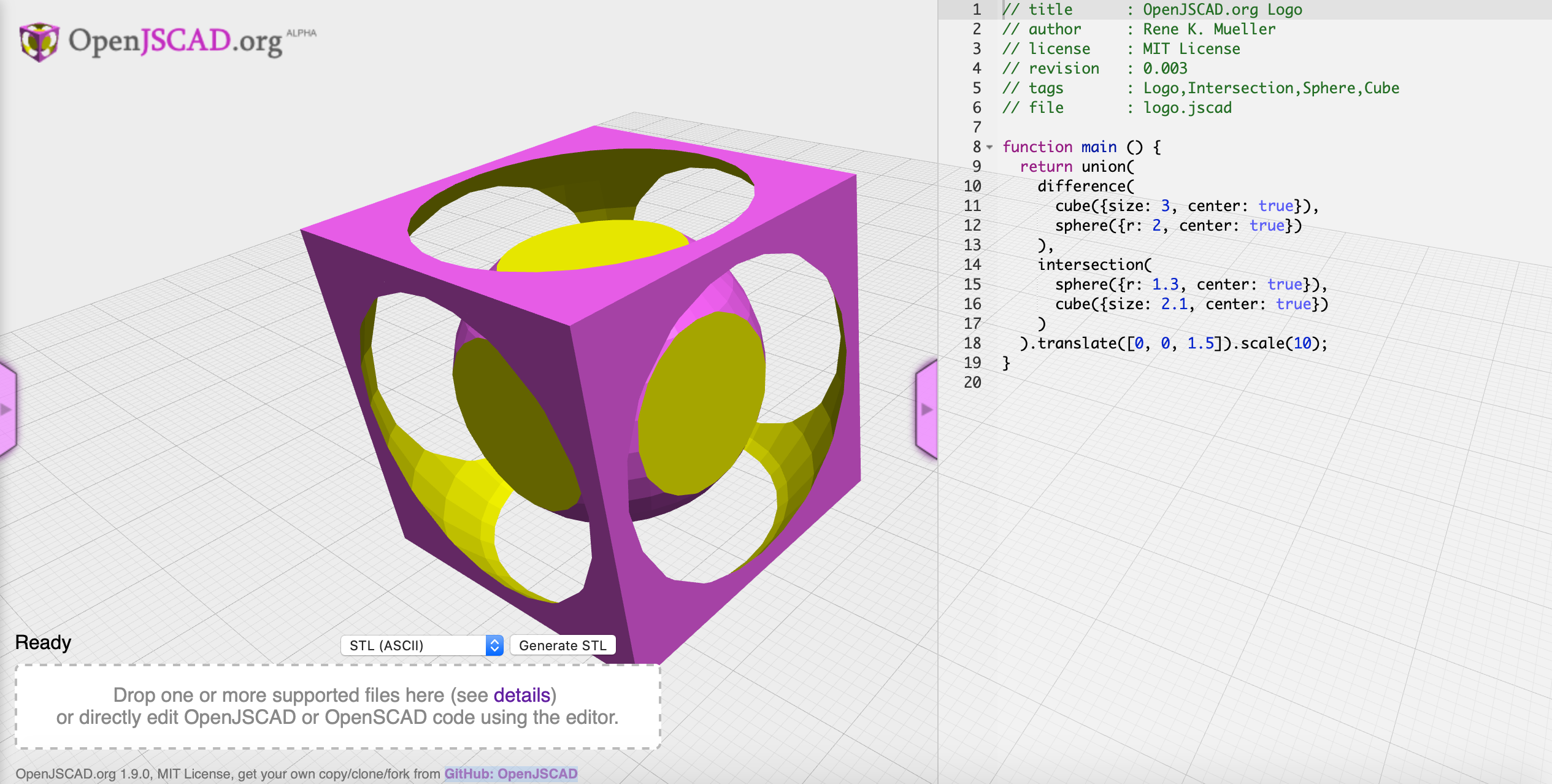 A 3D model scripted in OpenJSCAD.