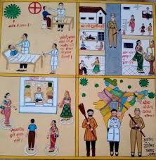 Dwarika Prasad's panel shows scenes from a hospital treating COVID-19 patients