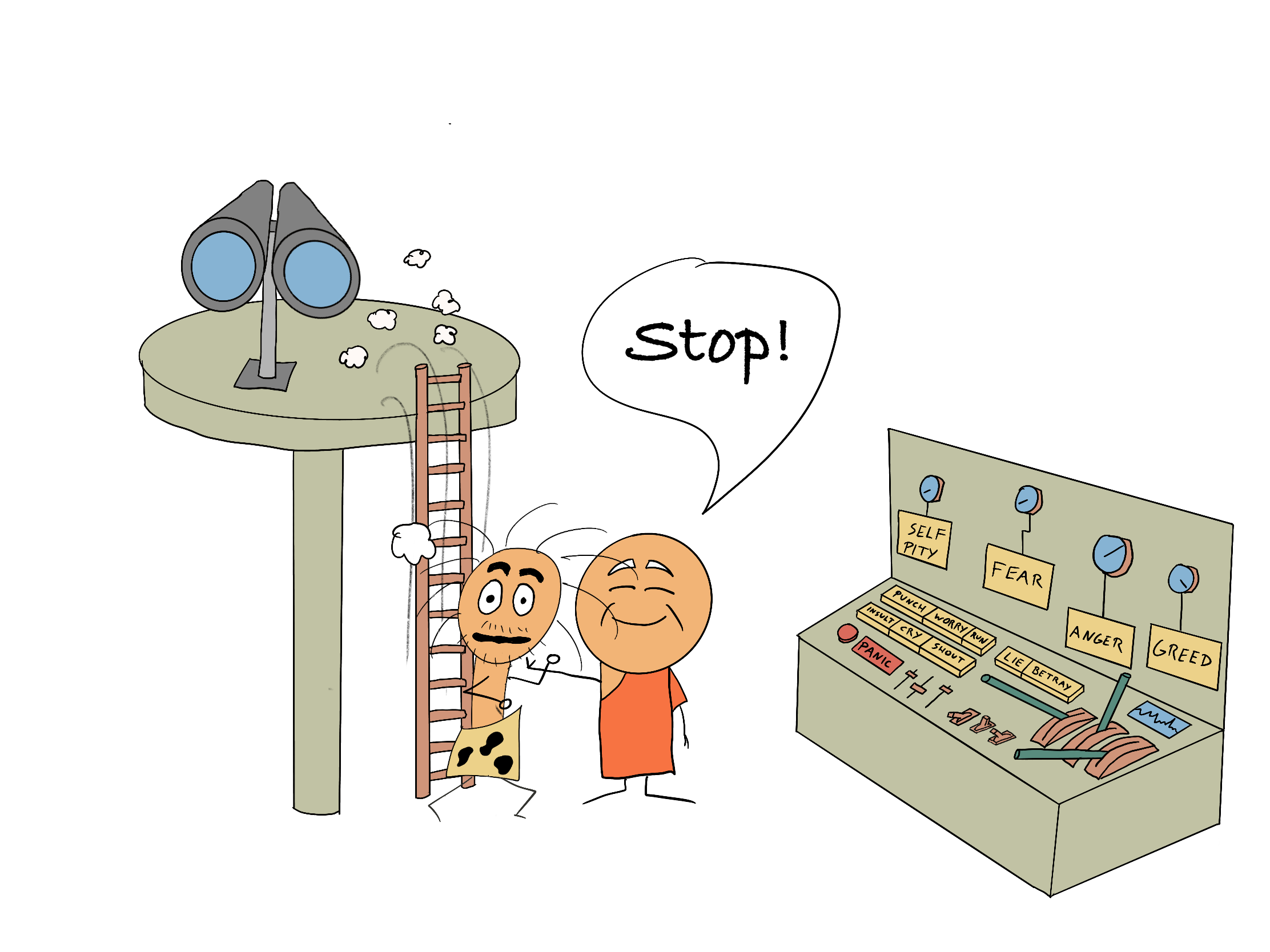 A monk stopping the Primitive Self from accessing the control station