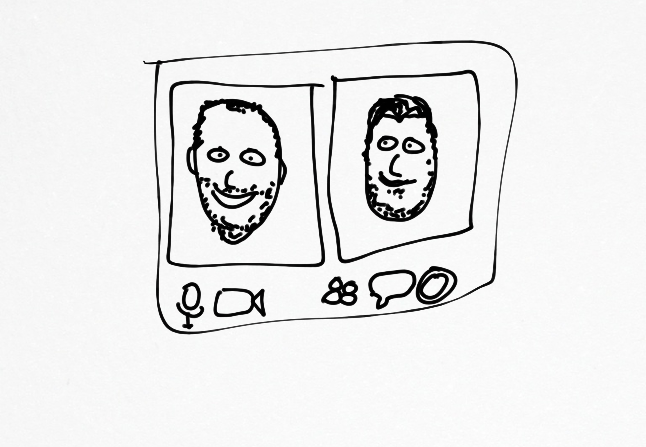 A pen sketch by Neil on he and I on zoom together for our random coffee