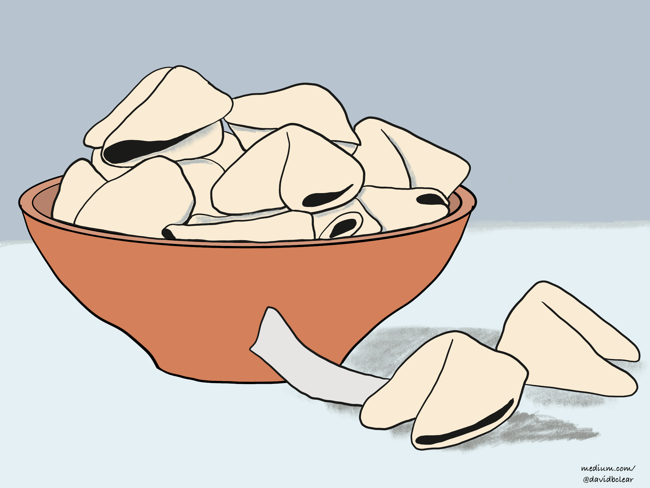 A bowl of fortune cookies.