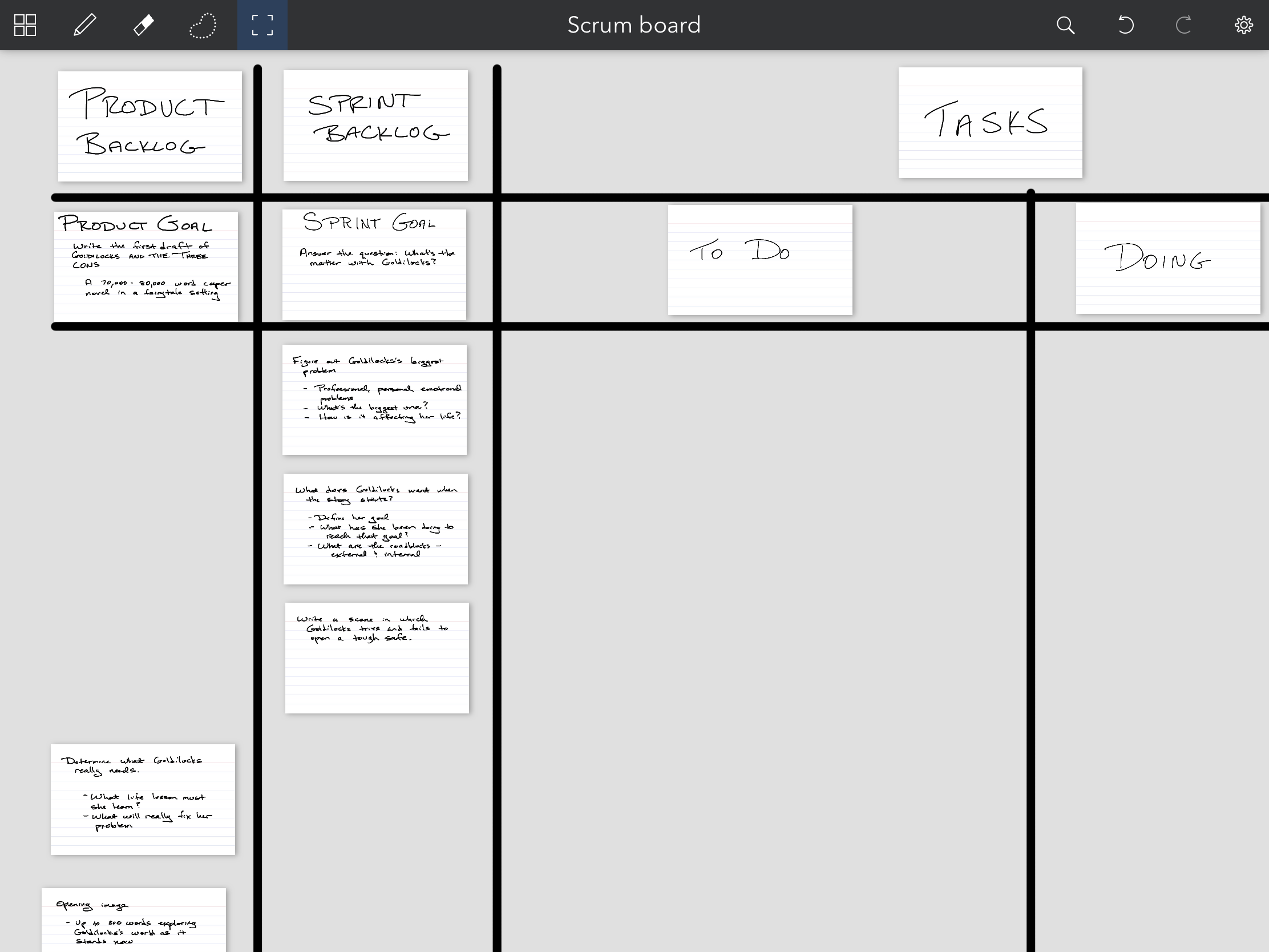 A closeup of the Sprint Goal with three items moved from Product Backlog to Sprint Backlog