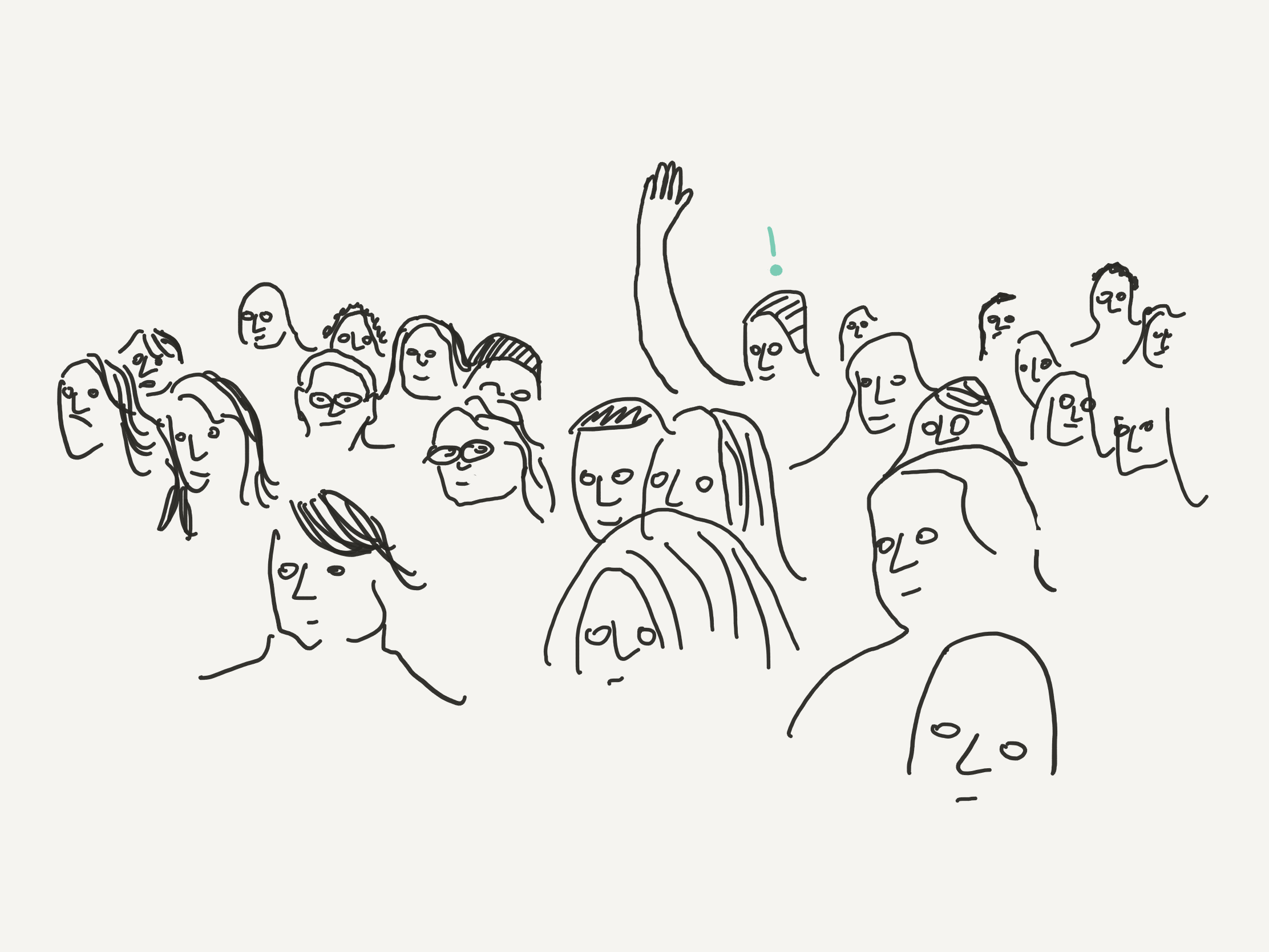 person in crowd of faces with their hand up and an idea