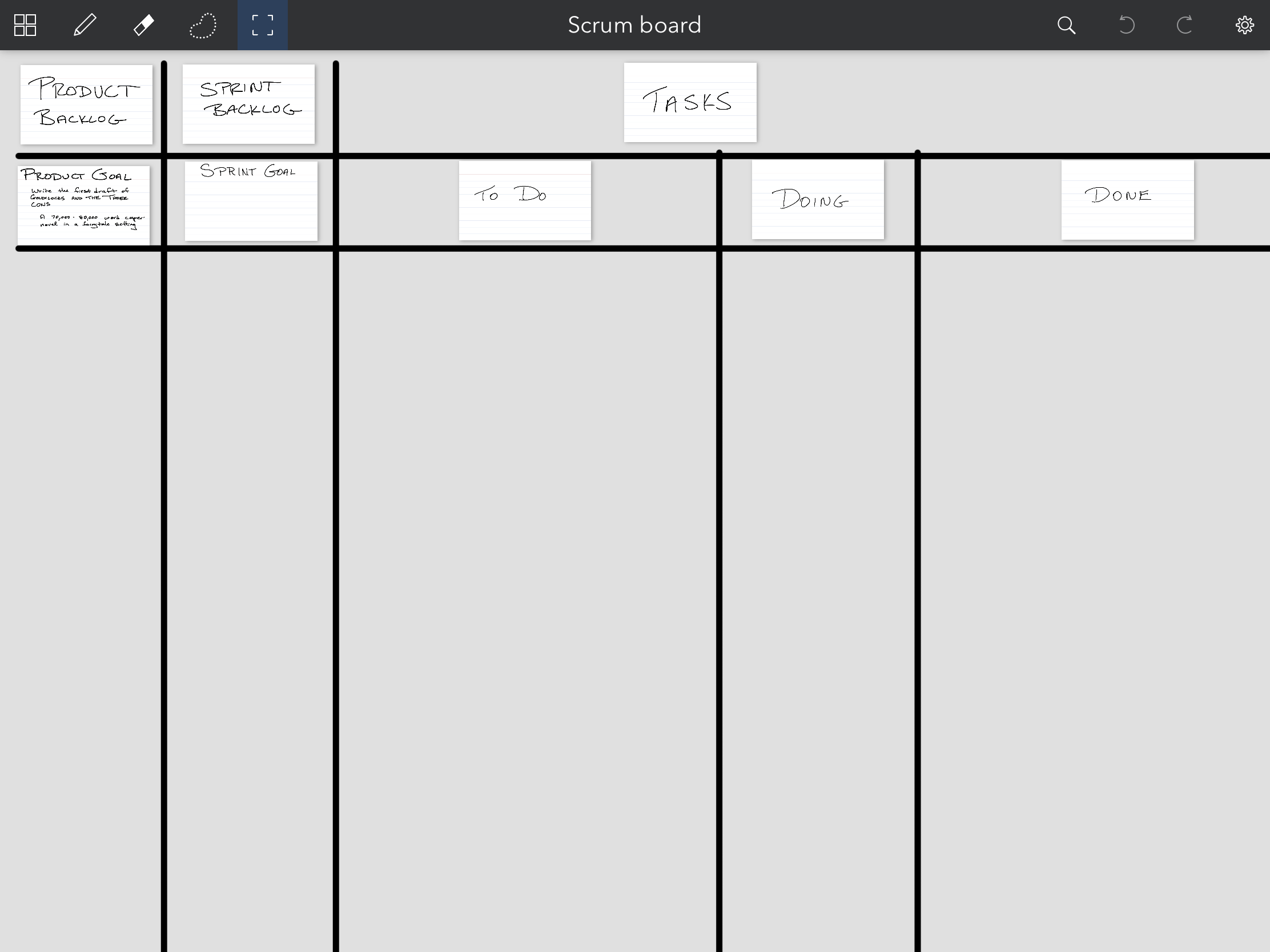 A Scrum board laid out with three rows and several columns for Product Backlog, Sprint Backlog, and tasks