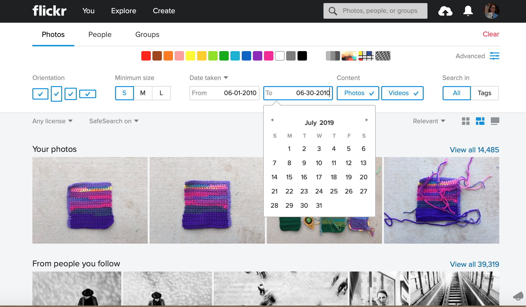 Adding the date range for an advanced search at Flickr