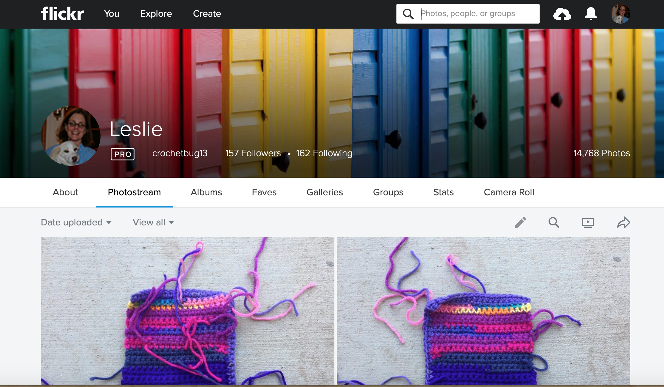 Clicking in the search box once you get to your photostream so you can sort your photos by date