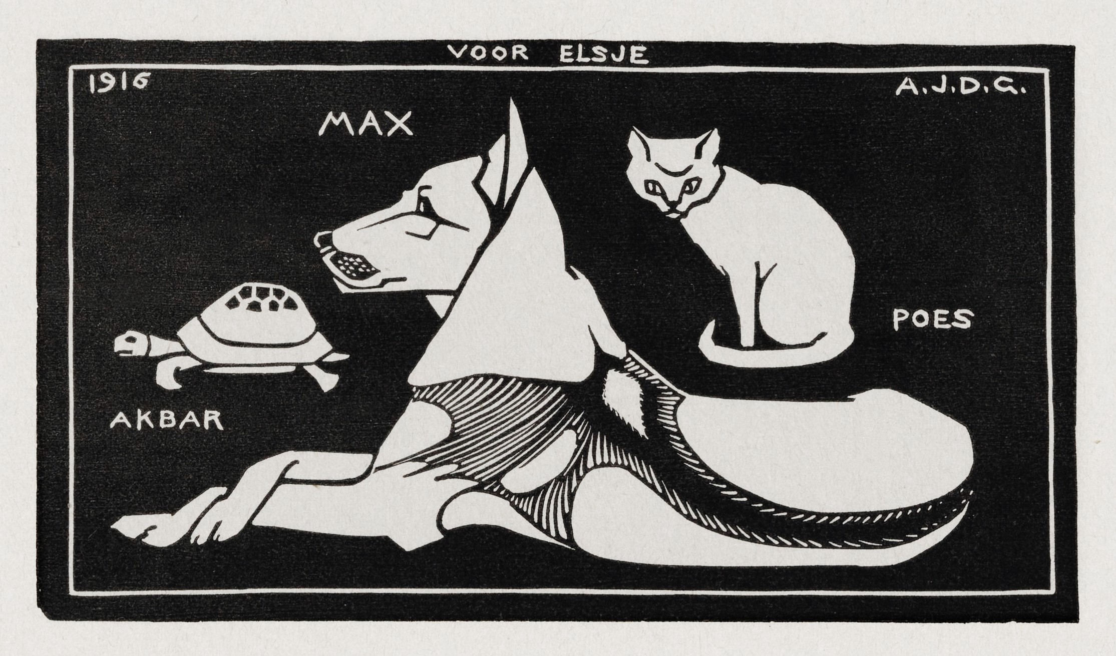 Black-and-white woodcut print of a tortoise named Akbar, a dog named Max, and a cat named Puss. The text is in Dutch.