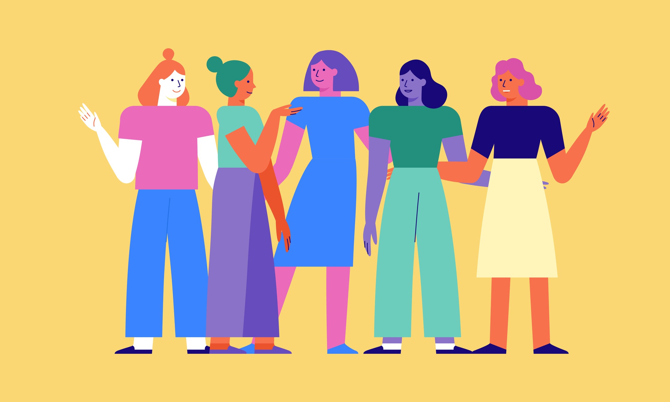 Illustration of several women standing together, colorful.