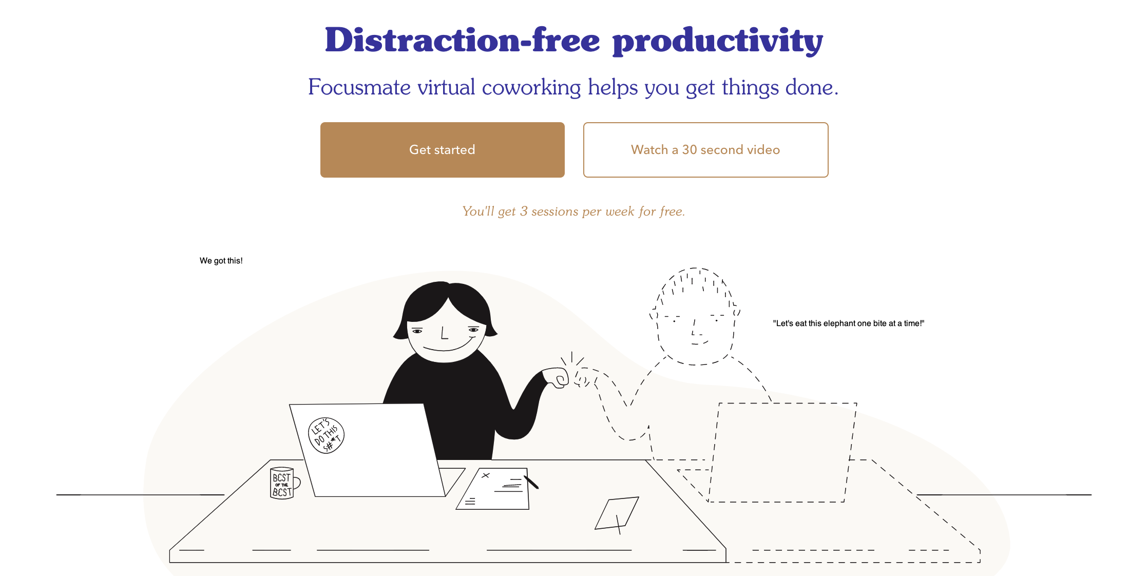 Illustration of 2 people sitting a desk with laptops, the virtual one in a dotted outline, giving each other a fist bump.
