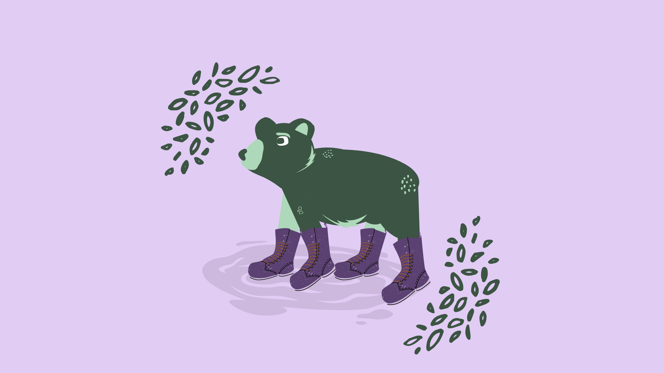 A bear, wearing hiking boots and looking worried, pauses in a puddle.