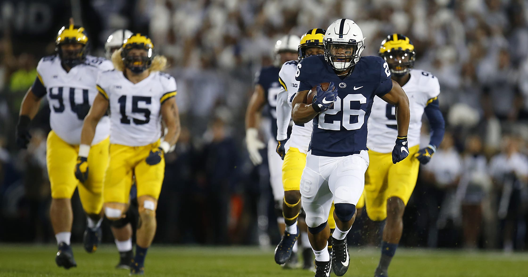 100% authentic b034b 196e5 Film Room: Why Penn State's Saquon Barkley is the perfect ...