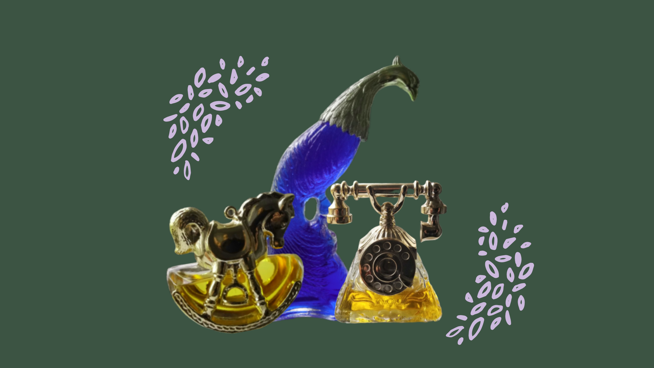 Three Avon novelty perfume bottles, shaped like a peacock, a rocking horse, and a rotary phone.