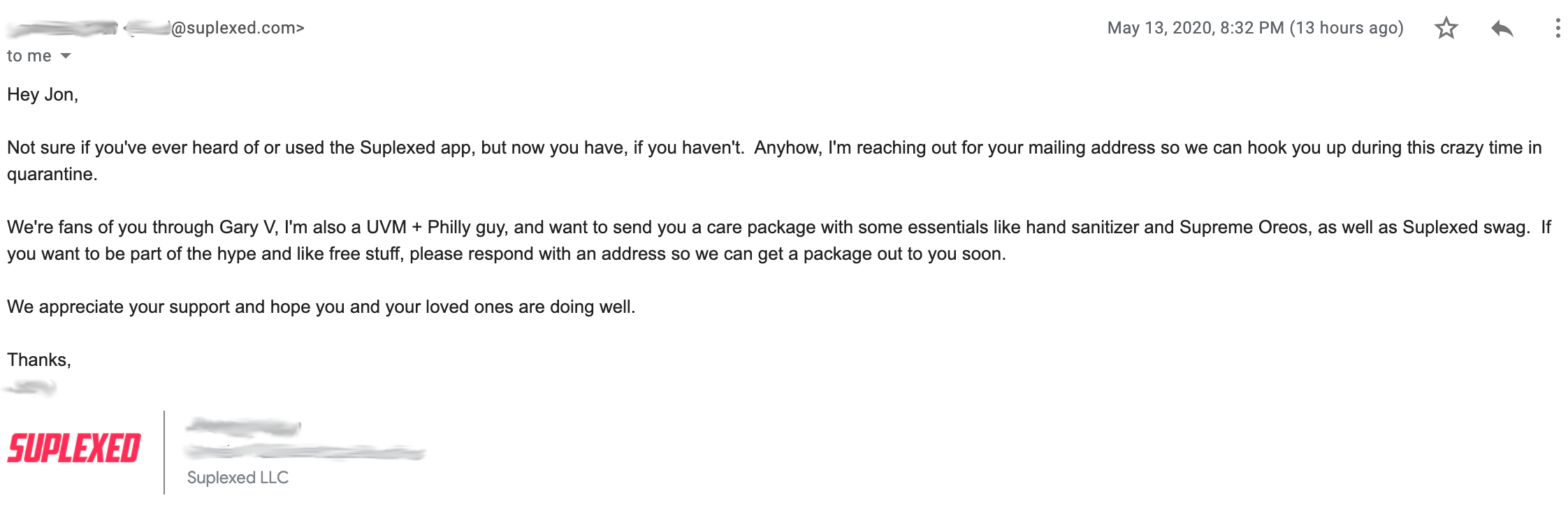 Image of the best cold e-mail I've ever received