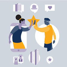 A flat-style illustration showing how two people can connect through technology