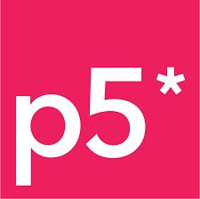 """The p5.js logo. White text that reads """"p5*"""" on a hot pink background. Courtesy of the p5.js twitter page."""