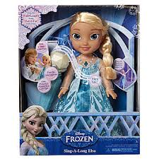 Image shows a boxed plastic doll of the character Elsa from the Disney film franchise Frozen. The doll has long blonde hair and is wearing a blue dress. The box highlights different features of the doll and an image of a young girl playing with the doll.