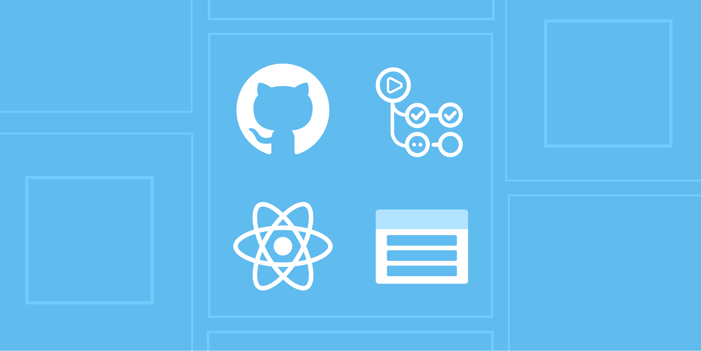 Featured image of this article showing GitHub's logo, GitHub Actions logo, React's logo, and Azure Storage's logo.