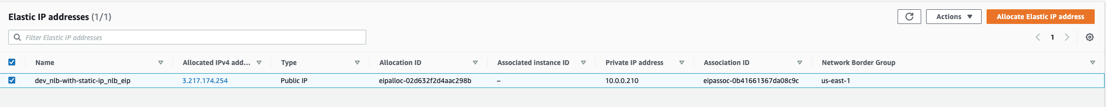 The public Elastic IP (EIP) used by the Network Load-Balancer (NLB) in the AWS web console