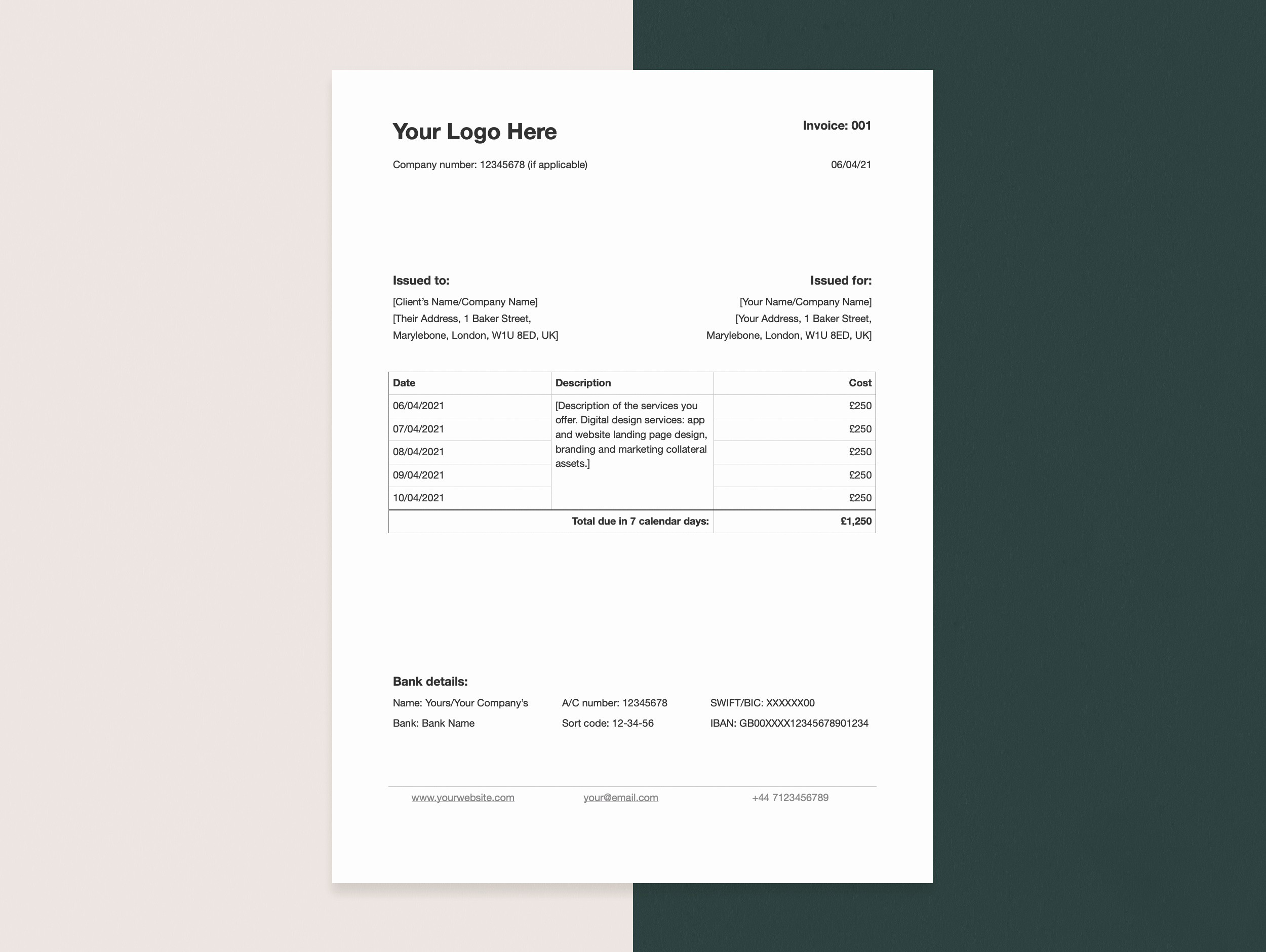 An invoice template