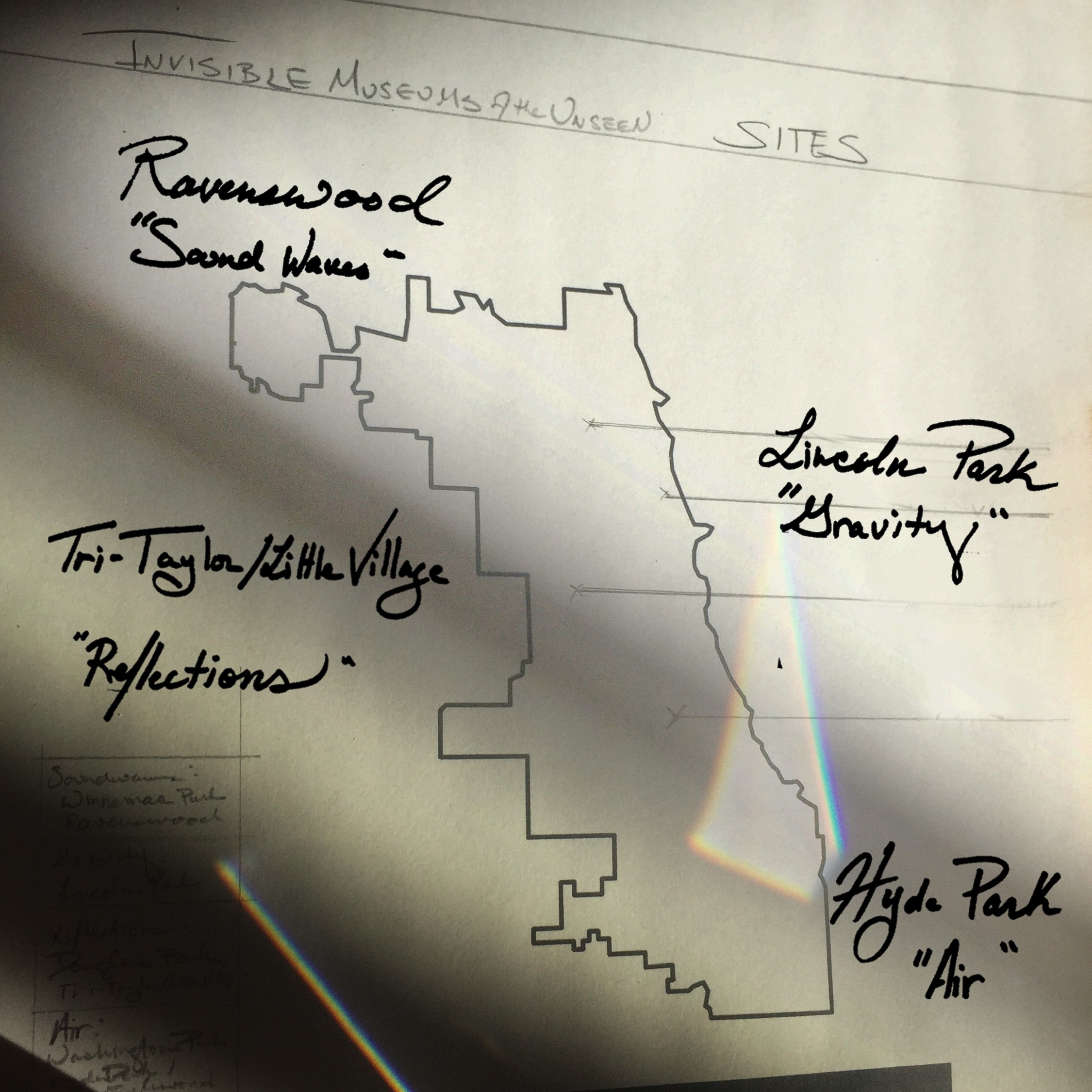 Sketches and notes from the research and design phase of producing this audio experience. Includes park titles on a map.