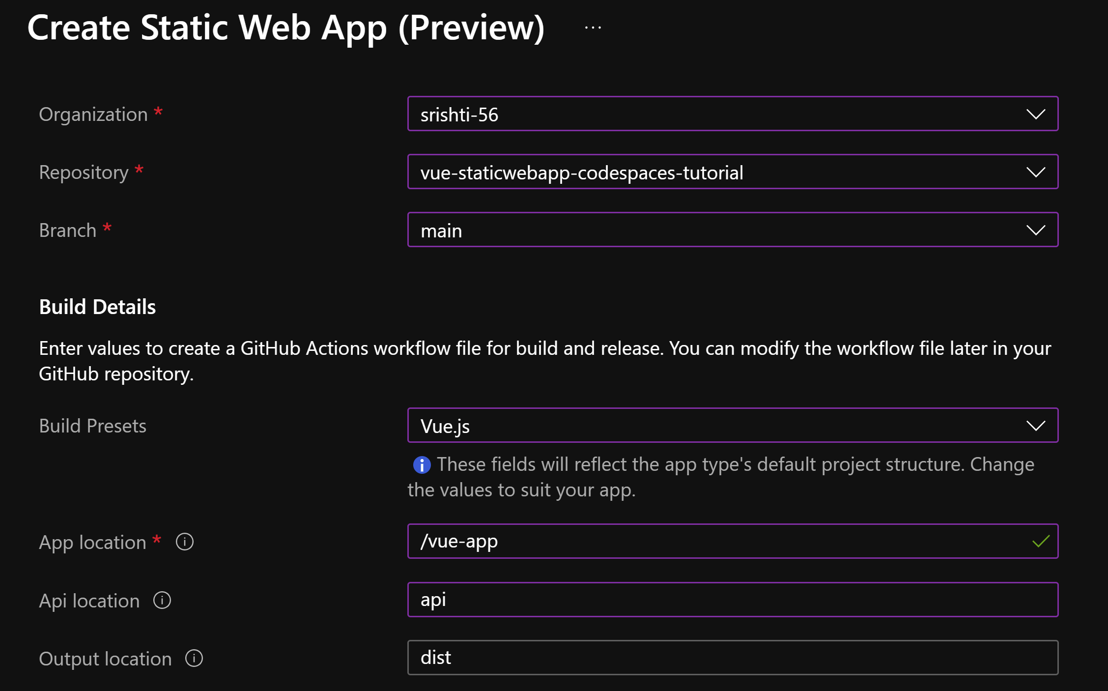 Sample of Create Static Web App (Preview) page from Azure with fields auto-filled with text already mentioned in blog post.