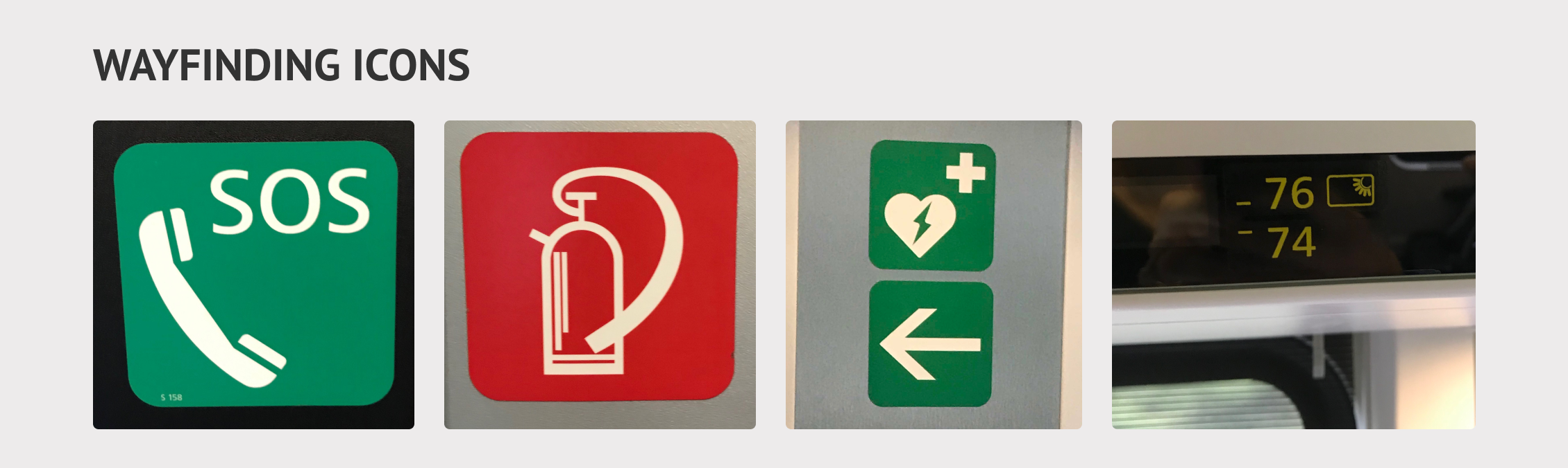 Images of the SOS, fire extinguisher, defibrillator, and seat number icons on the train.