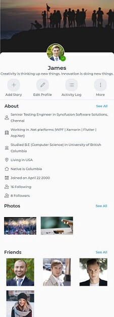 Profile page UI similar to Facebook in Xamarin.Forms