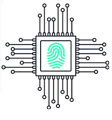 Microchip with a fingerprint icon on its casing