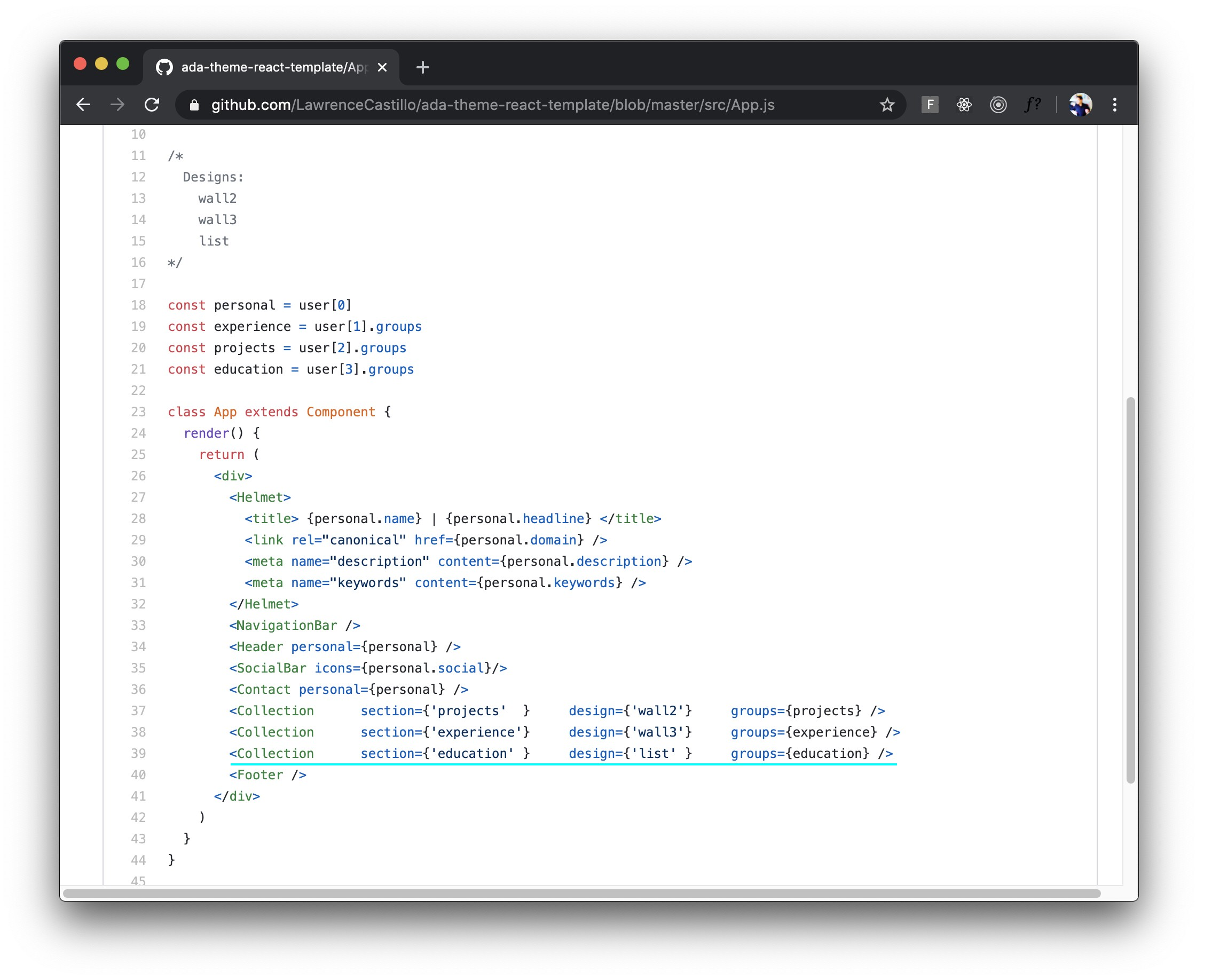 "Screenshot of ""App.js"" file on GitHub. Users can change the style and reorganize their site from here."