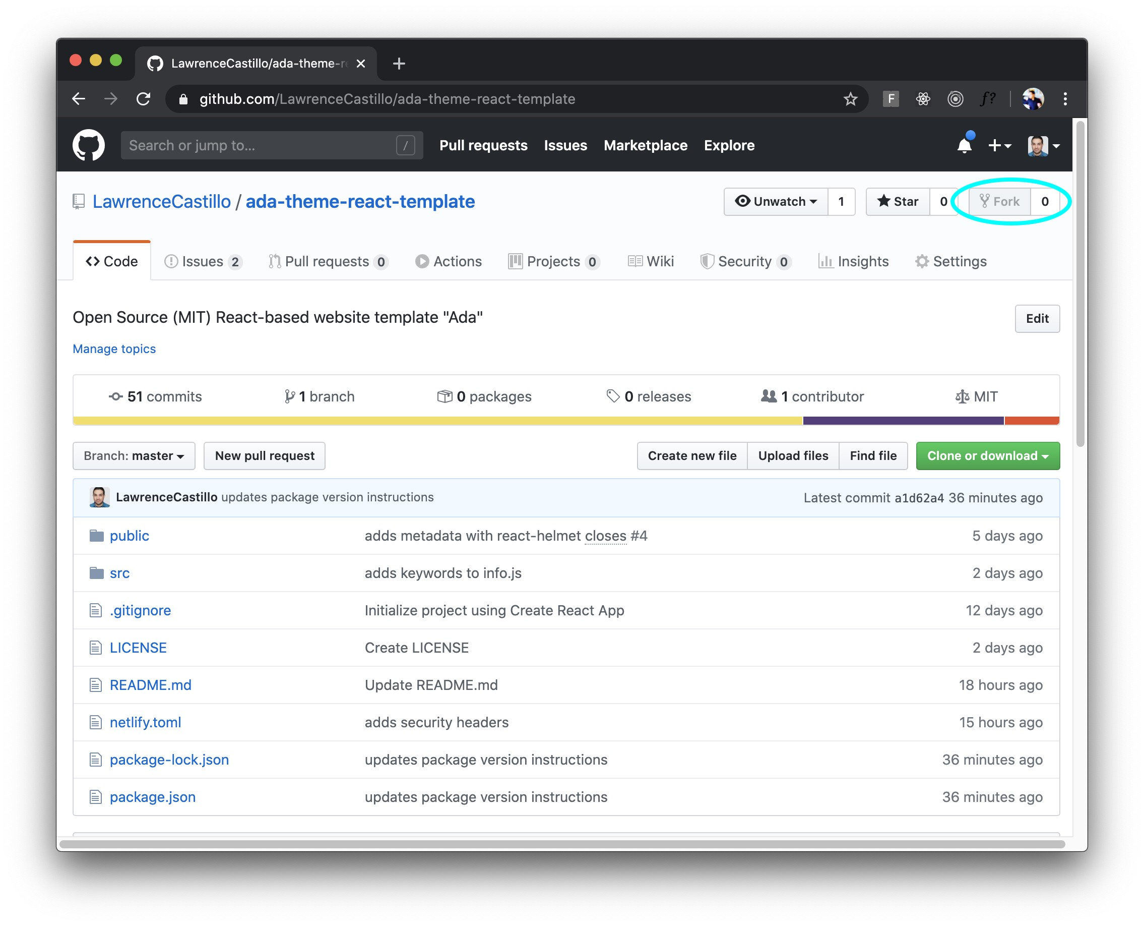 Screenshot showing GitHub repository for React-based template. Theme: Ada.