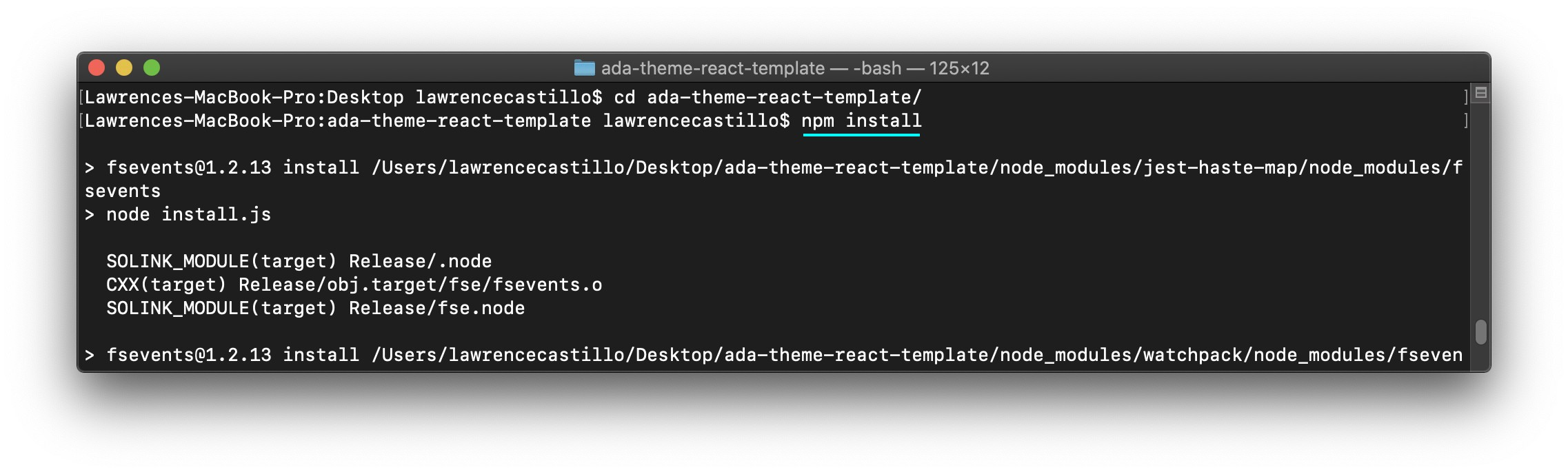 Screenshot showing installation of app dependencies using npm install in Mac Terminal.