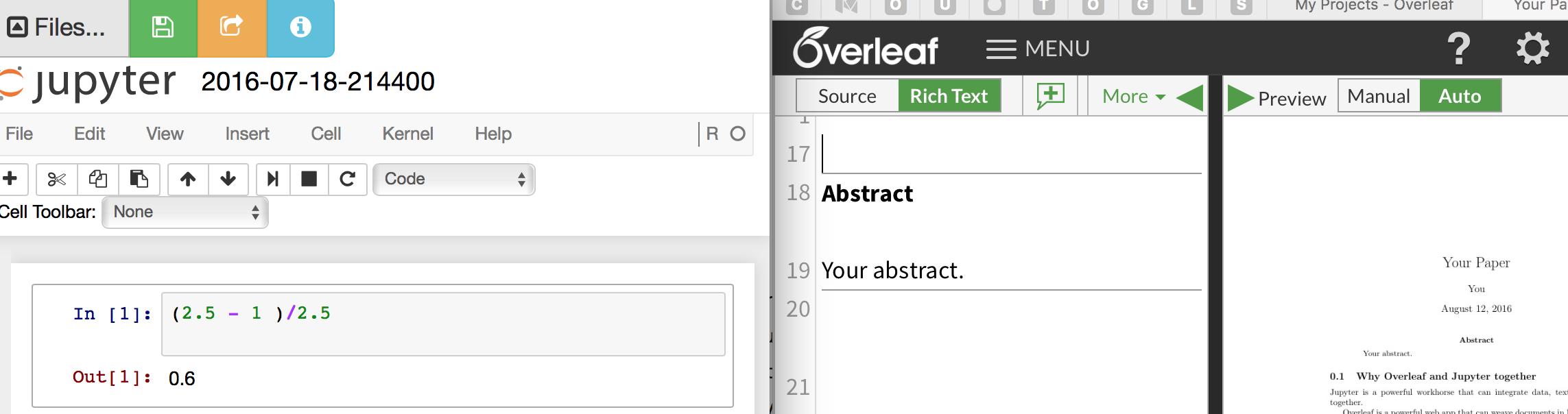 How to update Overleaf from a Juypter Notebook - Web