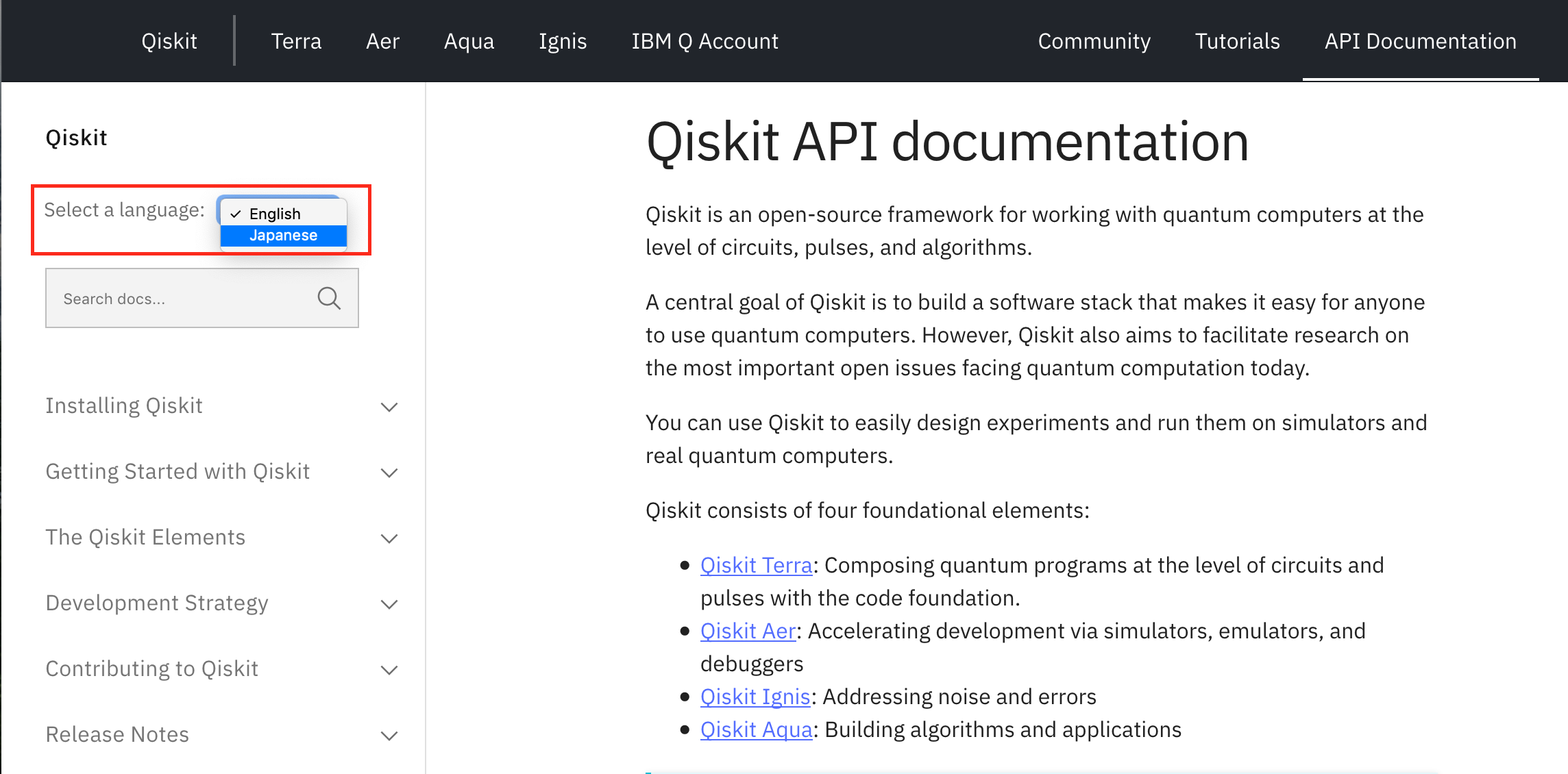 Qiskit API documentation page showing the drop down language selection menu on the top left corner.