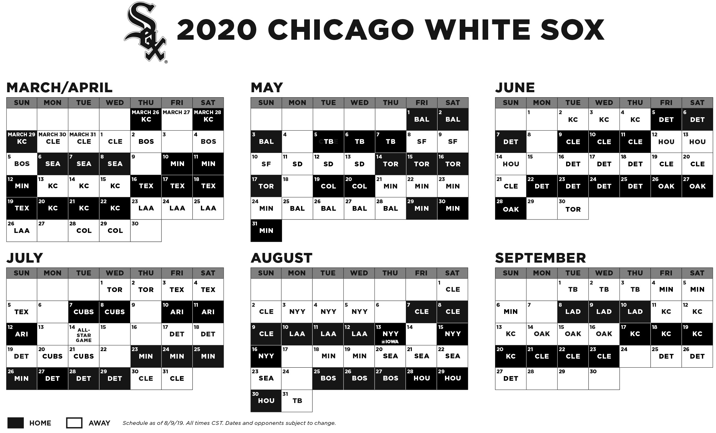 Cubs Schedule 2020 Printable.White Sox Announce 2020 Regular Season Schedule Inside The