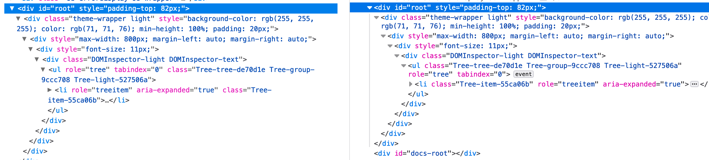 A comparison between the devtools-ds DOM inspector and Firefox DOM inspector showing the near-identical appearance.