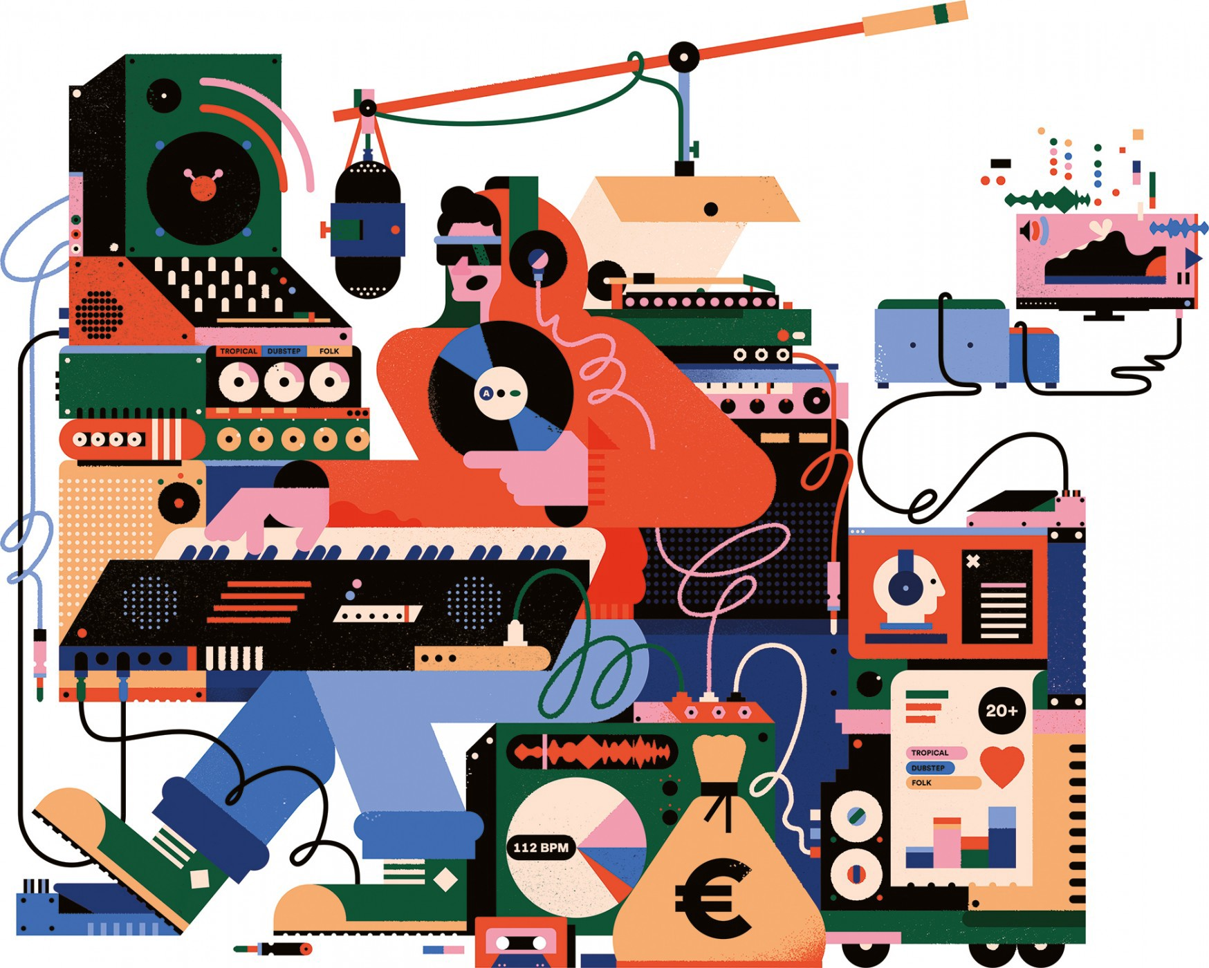 Different tools that are used for making music represented in a cartoon illustration design