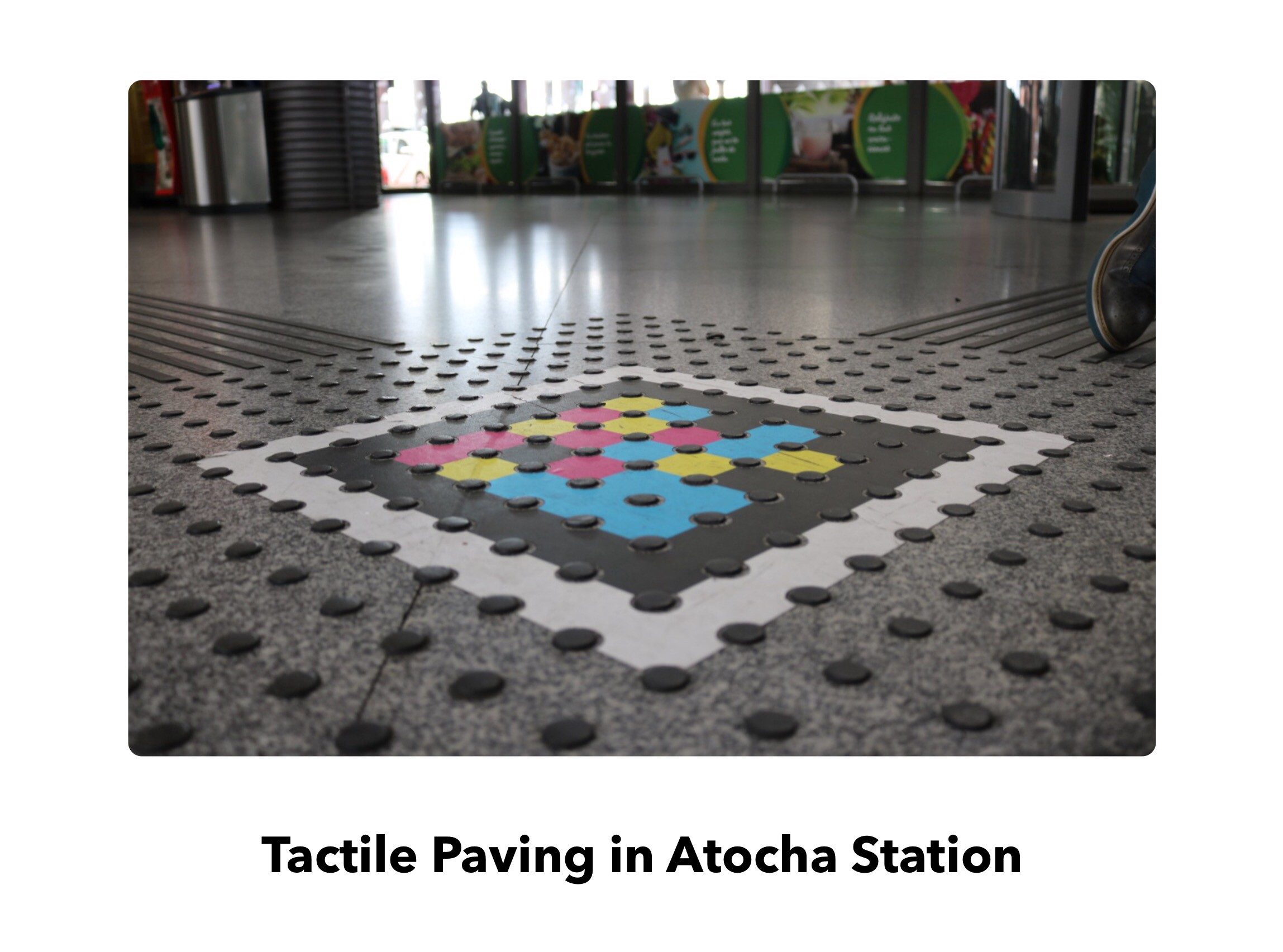 Tactile Paving with a NaviLens code fit to it that does not disturb the original design.