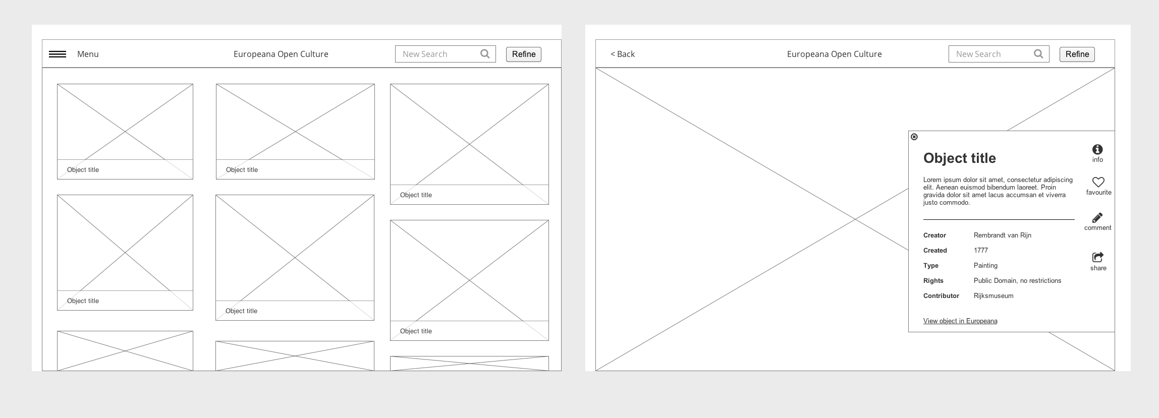 Wireframes of a results page and an item page.