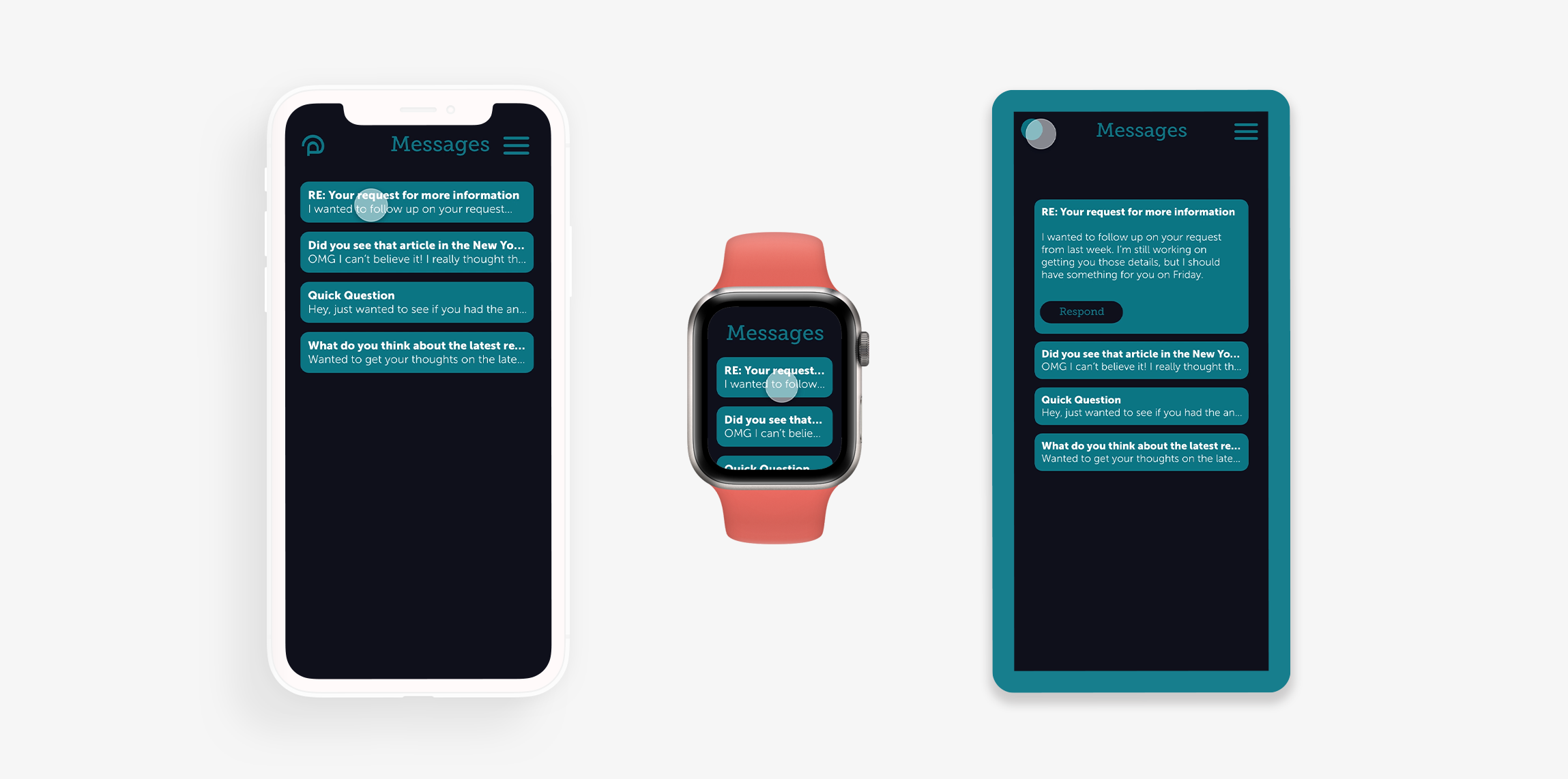 Three different approaches to design mockups: a clay iPhone, a realistic Apple Watch, and a subtle blue frame.